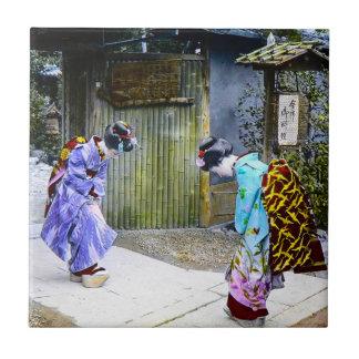 Geisha Greetings at the Gate Vintage Old Japan Ceramic Tiles