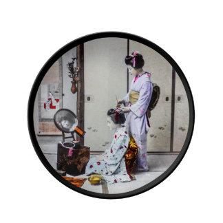 Geisha Hair Dressing Vintage Japanese 芸者 Porcelain Plates