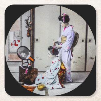 Geisha Hair Dressing Vintage Japanese 芸者 Square Paper Coaster
