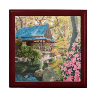 Geisha in a Japanese Garden Keepsake Gift Box