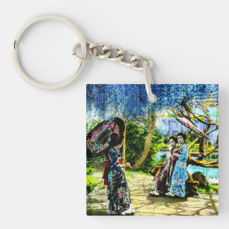Geisha in a Wisteria Garden Vintage Old Japan Single-Sided Square Acrylic Keychain