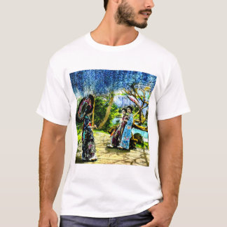 Geisha in a Wisteria Garden Vintage Old Japan T-Shirt