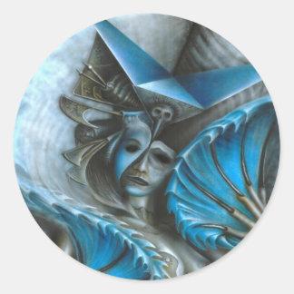 Geisha in blue classic round sticker