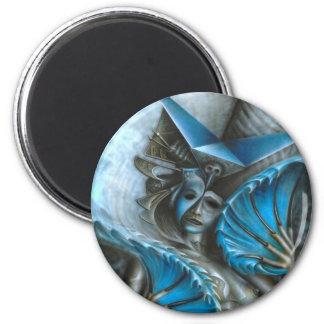 Geisha in blue magnet