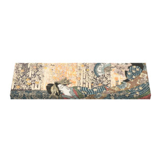Geisha in Flowing Kimono on Tapestry Canvas Print