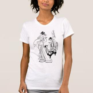 Geisha in Japanese Tea Time, Monochrome Typography T-Shirt