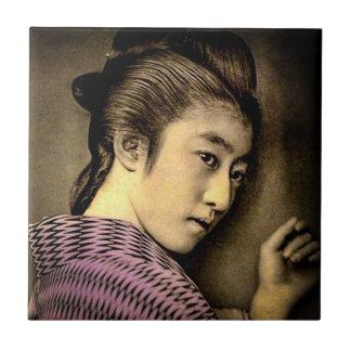 Geisha in the Shadows Vintage Old Japan Exotic Ceramic Tiles