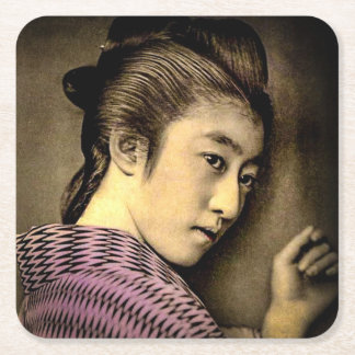 Geisha in the Shadows Vintage Old Japan Exotic Square Paper Coaster