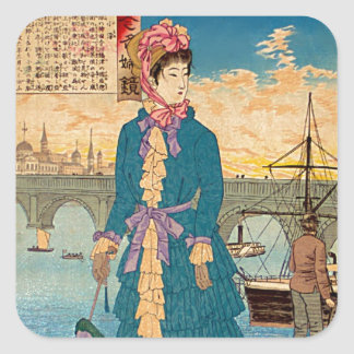 Geisha in the West Japanese Woodblock Art Ukiyo-E Square Sticker