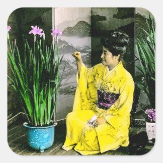 Geisha in Yellow Kimono Arranging Flowers Vintage Square Sticker