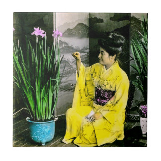 Geisha in Yellow Kimono Arranging Flowers Vintage Tile