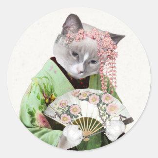 Geisha Kitten Classic Round Sticker