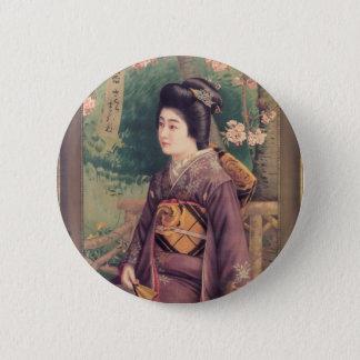 Geisha Luggage Tag 2 Inch Round Button