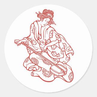 Geisha Maiden Playing Music Classic Round Sticker