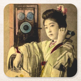 Geisha Making a Midnight Call to a Secret Lover Square Paper Coaster