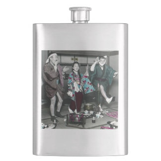 Geisha Party Time in Old Japan Vintage Japanese Hip Flask