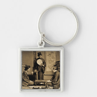 Geisha Playing Master At Game of Go  囲碁 Vintage Silver-Colored Square Keychain