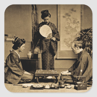 Geisha Playing Master At Game of Go  囲碁 Vintage Square Sticker
