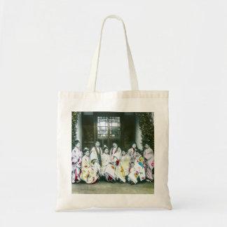 Geisha Posing by Brothel Vintage Glass Slide Tote Bag