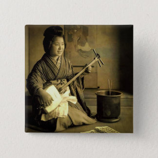 Geisha Practicing the Shamisen Vintage Old Japan 2 Inch Square Button