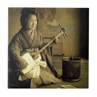 Geisha Practicing the Shamisen Vintage Old Japan Ceramic Tiles