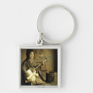 Geisha Practicing the Shamisen Vintage Old Japan Silver-Colored Square Keychain