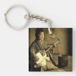 Geisha Practicing the Shamisen Vintage Old Japan Single-Sided Square Acrylic Keychain