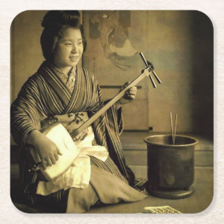 Geisha Practicing the Shamisen Vintage Old Japan Square Paper Coaster