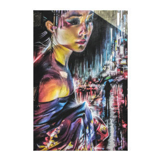 Geisha Tokyo City Night Canvas Art