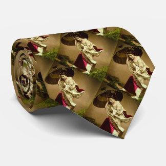 Geisha vintage dans une plaque en verre de pluie cravate