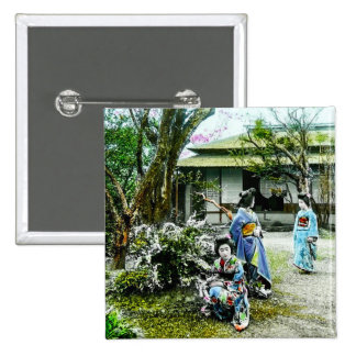 Geisha Visiting Iris Gardens in Old Japan Vintage 2 Inch Square Button