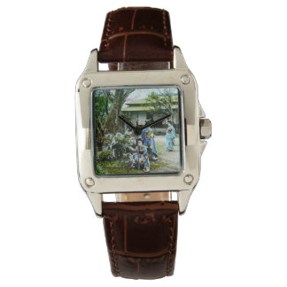 Geisha Visiting Iris Gardens in Old Japan Vintage Watch