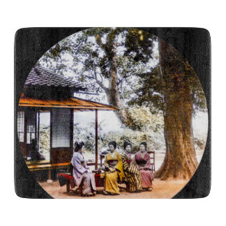 Geisha Visiting Outside an Tea House in Old Japan Cutting Board