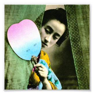 Geisha with a Paper Fan Vintage Old Japan Photo Print