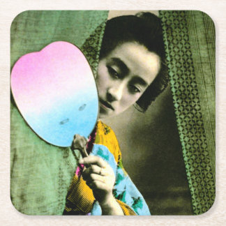 Geisha with a Paper Fan Vintage Old Japan Square Paper Coaster