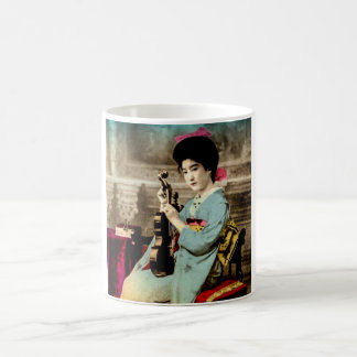 Geisha with a Violin Vintage Old Japan Musician Coffee Mug