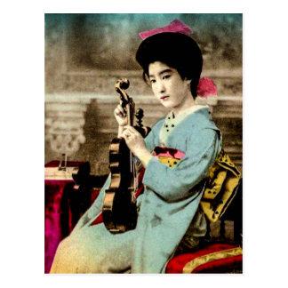 Geisha with a Violin Vintage Old Japan Musician Postcard