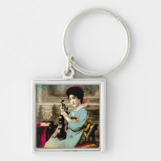 Geisha with a Violin Vintage Old Japan Musician Silver-Colored Square Keychain