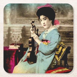 Geisha with a Violin Vintage Old Japan Musician Square Paper Coaster