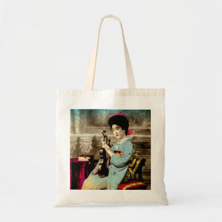 Geisha with a Violin Vintage Old Japan Musician Tote Bag