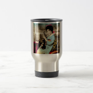 Geisha with a Violin Vintage Old Japan Musician Travel Mug