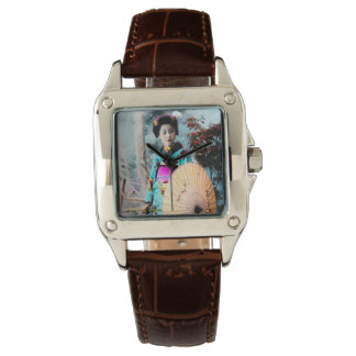 Geisha with a Wagasa Paper Parasol Vintage Japan Wristwatch