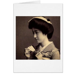 Geisha with Folding Paper Fan In Old Japan Card