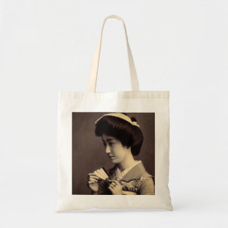 Geisha with Folding Paper Fan In Old Japan Tote Bag