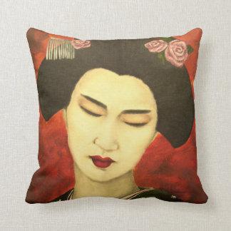 Geisha with Roses Throw Pillow