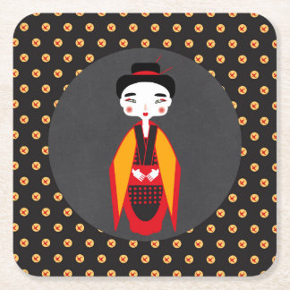 Geishas and sushi Birthday Party Square Paper Coaster