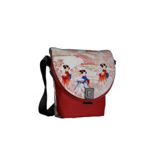 Geishas in garden messenger bag