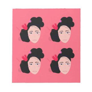 Geishas on pink design notepad