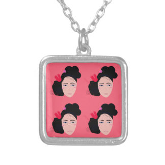 Geishas on pink design silver plated necklace