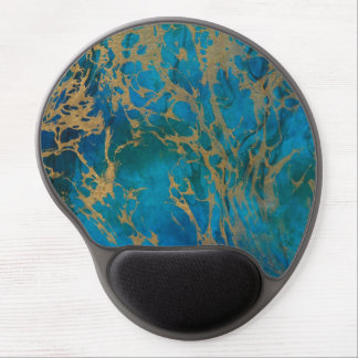 Gel Mouse Pad/Blue and Gold Marble Gel Mouse Pad